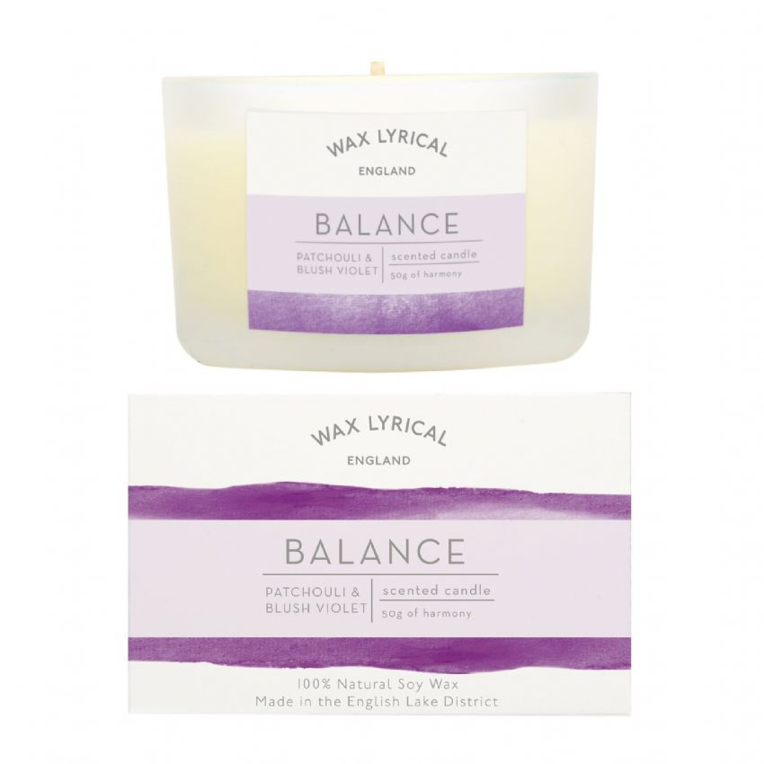 Balance Patchouli & Blush Violet 100% Natural Soy Wax Candle Glass Equilibrium Wax Lyrical 50g